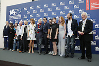 Director Marco Bellocchio poses with the cast of his new movie 'Blood Of My Blood' during the 72nd Venice Film Festival at the Palazzo Del Cinema in Venice, Italy, September 8, 2015.<br /> UPDATE IMAGES PRESS/Stephen Richie