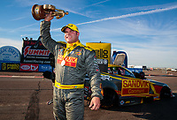 Feb 24, 2019; Chandler, AZ, USA; NHRA funny car driver Matt Hagan celebrates after winning the Arizona Nationals at Wild Horse Pass Motorsports Park. Mandatory Credit: Mark J. Rebilas-USA TODAY Sports