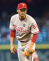 Park, Chan Ho 6242.jpg Philadelphia Phillies at Houston Astros. Major League Baseball. September 7th, 2009 at Minute Maid Park in Houston, Texas. Photo by Andrew Woolley.