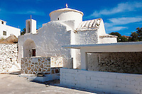 Byzantine Aghios Stefanos Church and old wash house , Pano Kastro, Naxos, Greek Cyclades Islands