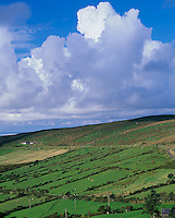 County Kerry, Ireland        <br /> Towering cumulus clouds above green pastures and farms on a Dingle Peninsula hillside
