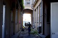 Roma, 6 Dicembre 2012.Viale Ostiense.Studenti e precari occupano uno stabile ex ACEA a scopo abitativo in memoria di Alexis Grigoropoulos, il giovane sedicenne greco ucciso dalla polizia nel 2008