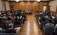 Critically acclaimed novelist Rebecca Walker, named by Time Magazine as one of the most influential leaders of her generation, in conversation about Black Multiraciality with professor Danzy Senna in Dumke Commons on Feb. 4, 2016. Organized by the Black Student Alliance as part of Black History Month.<br />