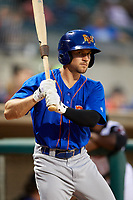 Midland RockHounds third baseman Jordan Tarsovich (5) on deck during a game against the Arkansas Travelers on May 25, 2017 at Dickey-Stephens Park in Little Rock, Arkansas.  Midland defeated Arkansas 8-1.  (Mike Janes/Four Seam Images)