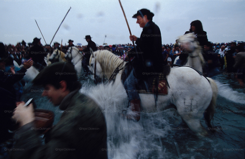 Europe, France, Camargue, Saintes Maries de la Mer, Gypsy Pilgrimmage 'Pelerinage des Gitans aux Saintes Maries de la Mer'. Pilgrims and 'Les Gardians' on horseback charge into the surf during Sara's procession. Gypsies from all over the world come to celebrate their patron Saint Sara who is carried by them from the church to the sea-shore. May 24th and 25th every year.