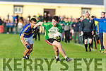In Action Ballydonoghue's Jack Foley and St. Senans Adrian Mahony  in the Final of the Bernard O Callaghan North Kerry Senior Football Championship, sponsored by McMunns Bar and Restaurant Ballybunion, St.Senans V Ballydonoghue  at Frank Sheehy Park, Listowel on Sunday