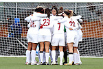 05 December 2010: Stanford's starters huddle before the start of the game. The Notre Dame University Fighting Irish defeated the Stanford University Cardinal 1-0 at WakeMed Stadium in Cary, North Carolina in the 2010 NCAA Women's College Cup Championship Game.