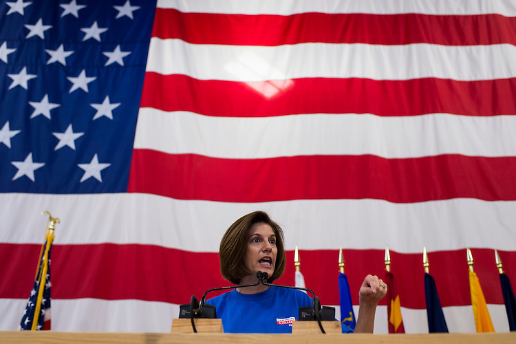 UNITED STATES - OCTOBER 22: Catherine Cortez Masto, Democratic candidate for U.S. Senate from Nevada, speaks at the United Brotherhood of Carpenters early vote rally at the Carpenters Union Training Center in Las Vegas on the first day of early voting in Nevada on Saturday, Oct. 22, 2016. (Photo By Bill Clark/CQ Roll Call)