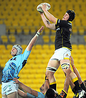 James Blackwell takes lineout ball during the Mitre 10 Cup rugby match between Wellington Lions and Northland Taniwha at Westpac Stadium in Wellington, New Zealand on Thursday, 12 October 2017. Photo: Dave Lintott / lintottphoto.co.nz