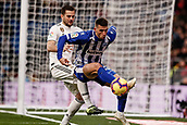 3rd February 2019, Santiago Bernabeu, Madrid, Spain; La Liga football, Real Madrid versus Alaves; Adrian Marin (Deportivo Alaves) challenges for control of the ball with Jose I Fernandez, NACHO (Real Madrid)