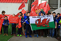 Fans from North Wales make the journey to Parc y Scarlets.<br /> <br /> Photographer Dan Minto/CameraSport<br /> <br /> Guinness PRO12 Round 19 - Scarlets v Benetton Treviso - Saturday 8th April 2017 - Parc y Scarlets - Llanelli, Wales<br /> <br /> World Copyright &copy; 2017 CameraSport. All rights reserved. 43 Linden Ave. Countesthorpe. Leicester. England. LE8 5PG - Tel: +44 (0) 116 277 4147 - admin@camerasport.com - www.camerasport.com