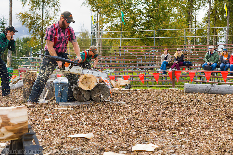 Lumberjack compete in contest at the Alaska State Fair, Palmer, Alaska.