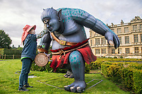 BNPS.co.uk (01202 558833)<br /> Pic: Longleat/BNPS<br /> <br /> Huge Cyclops gets a final touch up...<br /> <br /> This winter the UK's biggest lantern festival returns to Longleat.<br />  <br /> A small army of Chinese artists have constructed the beautiful illuminated lanterns for the spectacular winter light show at the Wiltshire stately home.<br /> <br /> This years theme of 'Myths and Legends' will take visitors on a thrilling odyssey of epic tales from around the globe.<br />  <br /> From the heroes and villains of Ancient Greece and Norse Mythology to the spectacular Day of the Dead, the Arabian Nights and the tale of the Sword in the Stone; thousands of illuminated lanterns will bring this magical and mysterious realm to life.