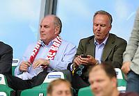 FUSSBALL   1. BUNDESLIGA   SAISON 2011/2012    2. SPIELTAG VfL Wolfsburg - FC Bayern Muenchen      13.08.2011 Uli HOENESS (li) und Karl-Heinz RUMMENIGGE (re, beide Bayern) auf der Tribuene