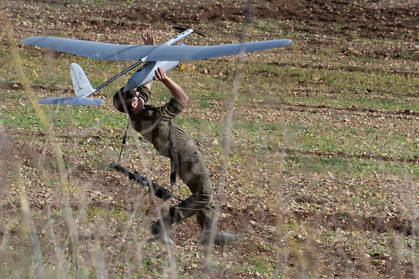 An Israel soldier prepares to launch an Israeli army's Skylark I unmanned drone aircraft, which is used for monitoring purposes on December 5, 2018. Israel had announced on December 4 that it had discovered Hezbollah tunnels infiltrating its territory from Lebanon and launched an operation to destroy them. Photo by: Ayal Margolin-JINIPIX