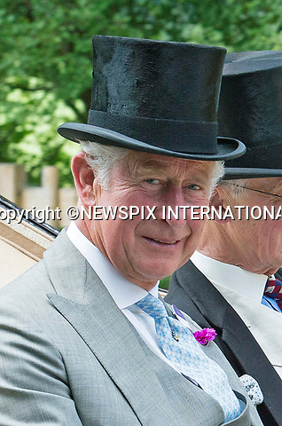 21.06.2017; Ascot, UK: PRINCE CHARLES AND CAMILLA, DUCHESS OR CORNWALL <br /> travel in the royal procession to Royal Ascot.<br /> Mandatory Credit Photo: &copy;Dias/NEWSPIX INTERNATIONAL<br /> <br /> IMMEDIATE CONFIRMATION OF USAGE REQUIRED:<br /> Newspix International, 31 Chinnery Hill, Bishop's Stortford, ENGLAND CM23 3PS<br /> Tel:+441279 324672  ; Fax: +441279656877<br /> Mobile:  07775681153<br /> e-mail: info@newspixinternational.co.uk<br /> Usage Implies Acceptance of OUr Terms &amp; Conditions<br /> Please refer to usage terms. All Fees Payable To Newspix International