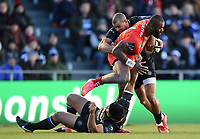 Semi Radradra of Toulon is double-tackled. European Rugby Champions Cup match, between RC Toulon and Bath Rugby on December 9, 2017 at the Stade Mayol in Toulon, France. Photo by: Patrick Khachfe / Onside Images
