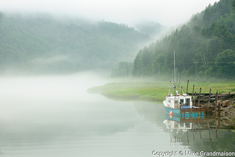 Fishing boat in fog<br /> Alma<br /> New Brunswick<br /> Canada