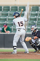 Jared Breen (15) of the Delmarva Shorebirds at bat against the Kannapolis Intimidators at CMC-NorthEast Stadium on July 2, 2014 in Kannapolis, North Carolina.  The Intimidators defeated the Shorebirds 6-4. (Brian Westerholt/Four Seam Images)