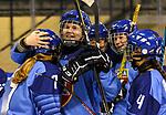 07.01.2020, BLZ Arena, Füssen / Fuessen, GER, IIHF Ice Hockey U18 Women's World Championship DIV I Group A, <br /> Italien (ITA) vs Daenemark (DEN), <br /> im Bild Jubel nach Spielende, Lea Mair (ITA, #7), Sara Kaneppele (ITA, #22), Sarah Engele (ITA, #4)<br /> <br /> Foto © nordphoto / Hafner