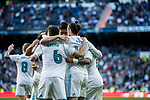 Gareth Bale of Real Madrid celebrates with teammates during the La Liga 2017-18 match between Real Madrid and RC Deportivo La Coruna at Santiago Bernabeu Stadium on January 21 2018 in Madrid, Spain. Photo by Diego Gonzalez / Power Sport Images