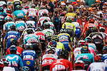 Peloton with Enric Mas (ESP) Deceuninck-Quick Step and Bauke Mollema (NED) Trek-Segafredo  during the 2nd ascent of Mur de Huy at 2019 La Fl&egrave;che Wallonne running 195 km from Ans to Mur de Huy, Belgium. 24th April 2019. Picture: Pim Nijland | Peloton Photos/Cyclefile<br /> <br /> All photos usage must carry mandatory copyright credit (Peloton Photos/Cyclefile | Pim Nijland)