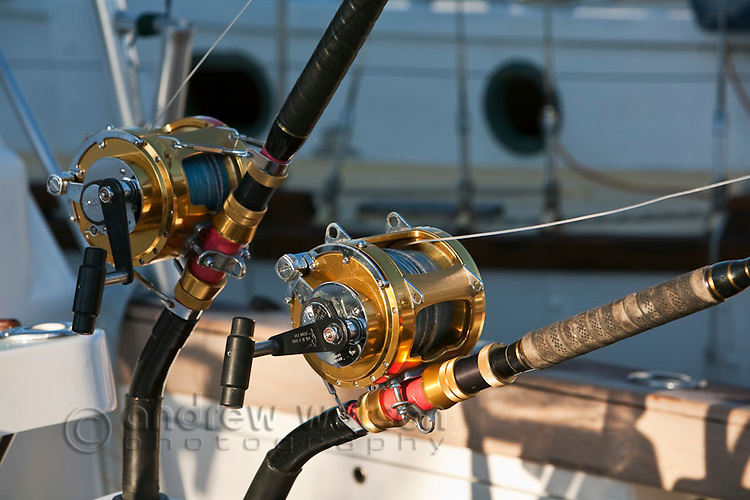Fishing rods on a game fishing boat.  Cairns, Queensland, Australia