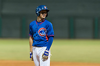 AZL Cubs 2 center fielder Cole Roederer (34) during an Arizona League game against the AZL Indians 2 at Sloan Park on August 2, 2018 in Mesa, Arizona. The AZL Indians 2 defeated the AZL Cubs 2 by a score of 9-8. (Zachary Lucy/Four Seam Images)