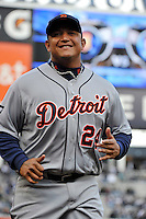 Apr 02, 2011; Bronx, NY, USA; Detroit Tigers infielder Miguel Cabrera (24) during game against the New York Yankees at Yankee Stadium. Yankees defeated the Tigers 10-6. Mandatory Credit: Tomasso De Rosa