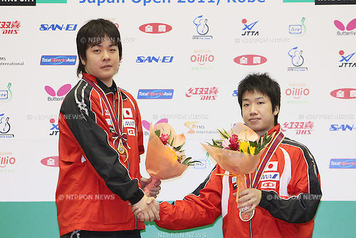 (L to R) Seiya Kishikawa, Jun Mizutani (JPN), JULY 10, 2011 - Table Tennis : The Japan Open 2011, Men's Singles Victory Ceremony at Green Arena Kobe, Hyogo, Japan. (Photo by Akihiro Sugimoto/AFLO SPORT) [1080]
