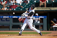 Brendan McKay (38) of the Louisville Cardinals at bat against the Florida State Seminoles in Game Eleven of the 2017 ACC Baseball Championship at Louisville Slugger Field on May 26, 2017 in Louisville, Kentucky. The Seminoles defeated the Cardinals 6-2. (Brian Westerholt/Four Seam Images)
