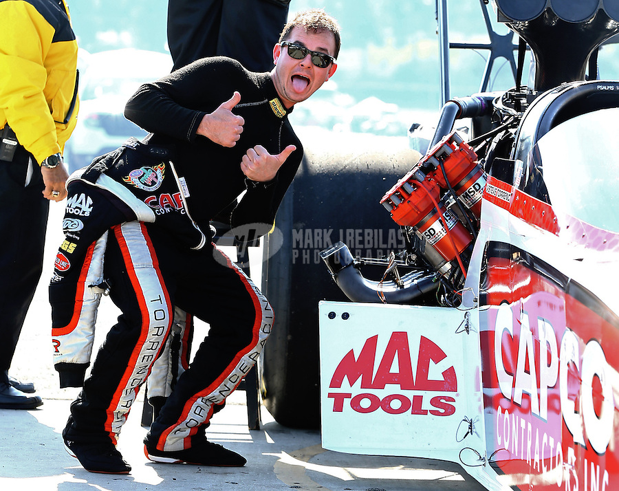 Feb 8, 2014; Pomona, CA, USA; NHRA top fuel dragster driver Steve Torrence during qualifying for the Winternationals at Auto Club Raceway at Pomona. Mandatory Credit: Mark J. Rebilas-