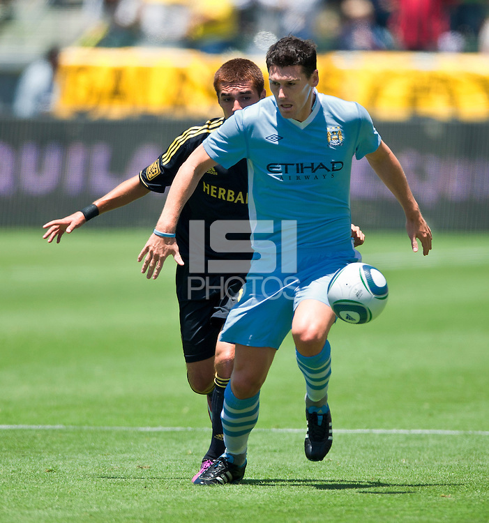 CARSON, CA – July 24, 2011: Gareth Barry (18) of Manchester City during the match between LA Galaxy and Manchester City FC at the Home Depot Center in Carson, California. Final score Manchester City FC 1 and LA Galaxy 1. Manchester City wins shoot out 7, LA Galaxy 6.