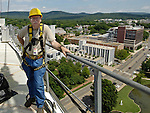 "ARCHIVED PHOTO-Huntsville Times photographer Bob Gathany 250 ft. up on tower crane.  Photo by Owen ""Smitty"" Smith.  Smitty let Bob operate the crane and Bob let Smitty use his camera. HOLD FOR LIFE."