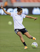 Christen Press (23) of the Chicago Red Stars warms up prior to their game with the Houston Dash on Saturday, April 16, 2016 at BBVA Compass Stadium in Houston Texas.