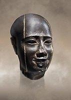 Ancient Egyptian statue bust of a male, graanodiorite, Late Period, (722-322 BC). Egyptian Museum, Turin. Grey background.  Drovetti collection. Cat 3139