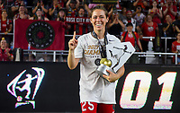 Orlando, FL - Saturday October 14, 2017: Meghan Klingenberg and the Portland Thorns FC celebrate their National Women's Soccer League (NWSL) Championship win by defeating North Carolina Courage 1-0 during the NWSL Championship match between the North Carolina Courage and the Portland Thorns FC at Orlando City Stadium.