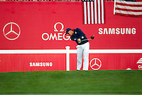 Ricky Fowler (Team USA) on the 1st tee during the Saturday morning Foursomes at the Ryder Cup, Hazeltine national Golf Club, Chaska, Minnesota, USA.  01/10/2016<br /> Picture: Golffile | Fran Caffrey<br /> <br /> <br /> All photo usage must carry mandatory copyright credit (&copy; Golffile | Fran Caffrey)