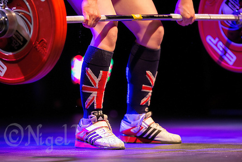 10 MAY 2014 - COVENTRY, GBR - Bobbie Butters from Oldbury Academy attempts a lift during the women's 53kg category round at the British 2014 Senior Weightlifting Championships and final 2014 Commonwealth Games qualifying event round at the Ricoh Arena in Coventry, Great Britain (PHOTO COPYRIGHT © 2014 NIGEL FARROW, ALL RIGHTS RESERVED)