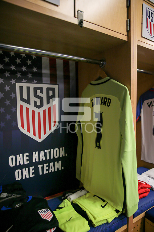 Harrison, N.J. - Friday September 01, 2017: Tim Howard's kit during a 2017 FIFA World Cup Qualifying (WCQ) round match between the men's national teams of the United States (USA) and Costa Rica (CRC) at Red Bull Arena.
