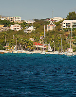 The shoreline and hillside of St. Thomas, US Virgin Islands, from Benner Bay on Feb. 8, 2012