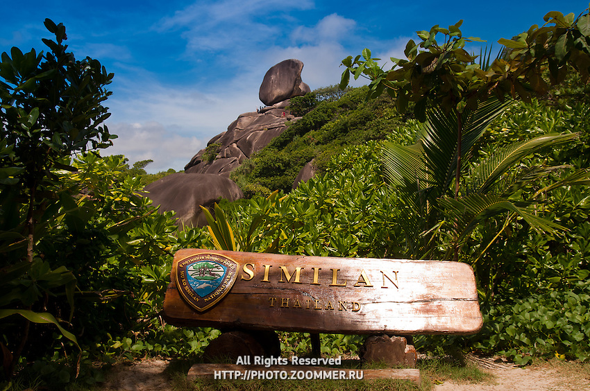 Sail rock and Similan island sign on Ko Similan #8, Thailand