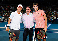 GRIGOR DIMITROV (BUL), KEI NISHIKORI (JPN)<br /> <br /> BRISBANE INTERNATIONAL, PAT RAFTER ARENA, BRISBANE TENNIS CENTRE, BRISBANE, QUEENSLAND, AUSTRALIA, ATP, WTA, Hard Court, Outside, Men's tennis, Women's tennis, Men's singles, women's singles, men's doubles, women's doubles.<br /> <br /> &copy; TENNIS PHOTO NETWORK