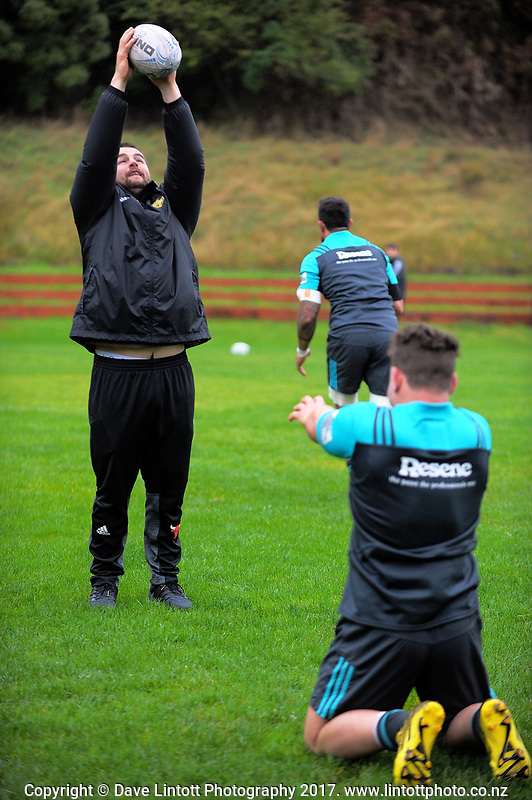 Ricky Riccitelli throws to Dane Coles.  Hurricanes rugby union training at Rugby League Park in Wellington, New Zealand on Wednesday, 5 April 2017. Photo: Dave Lintott / lintottphoto.co.nz