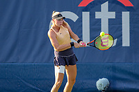 Washington, DC - August 3, 2019:  Fanny Stollar (HUN) hits a backhand shot during the  Women Doubles finals at William H.G. FitzGerald Tennis Center in Washington, DC  August 3, 2019.  (Photo by Elliott Brown/Media Images International)