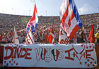 CD Chivas fanaticos during a MLS game. The CD Chivas USA tied the New England Revolution 1-1 at the Los Angeles Memorial Coliseum, Sunday, August 6, 2006.