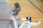 12 February 2017: Duke's Lindsay Sapienza (left) and Boston College's Gabrielle Chau (right) during Saber. The Duke University Blue Devils hosted the Boston College Eagles at Card Gym in Durham, North Carolina in a 2017 College Women's Fencing match. Duke won the dual match 19-8 overall, 6-3 Foil, 5-4 Epee, and 8-1 Saber.
