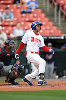 Buffalo Bisons outfielder Anthony Gose (8) at bat during a game against the Gwinnett Braves on May 13, 2014 at Coca-Cola Field in Buffalo, New  York.  Gwinnett defeated Buffalo 3-2.  (Mike Janes/Four Seam Images)