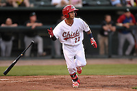 Peoria Chiefs second baseman Richy Pedroza (22) at bat during a game against the Kane County Cougars on June 2, 2014 at Dozer Park in Peoria, Illinois.  Peoria defeated Kane County 5-3.  (Mike Janes/Four Seam Images)