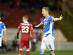 Aberdeen v St Johnstone…22.09.16.. Pittodrie..  Betfred Cup<br />Steven MacLean appeals to the linesman<br />Picture by Graeme Hart.<br />Copyright Perthshire Picture Agency<br />Tel: 01738 623350  Mobile: 07990 594431
